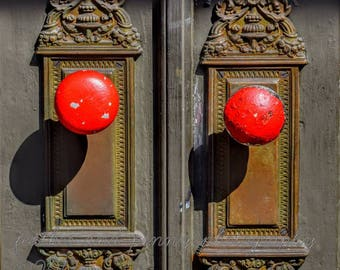 New Orleans Photography, New Orleans Art, New Orleans Prints, New Orleans Decor, Antique door knobs, Red door, Architecture, French Quarter