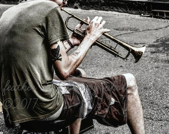 New Orleans Photography, New Orleans Prints, New Orleans Art, New Orleans Decor, New Orleans Music, Trumpet player, NOLA, Street musician
