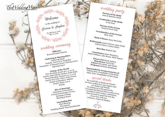 order of ceremony pink wedding program pdf order of service etsy