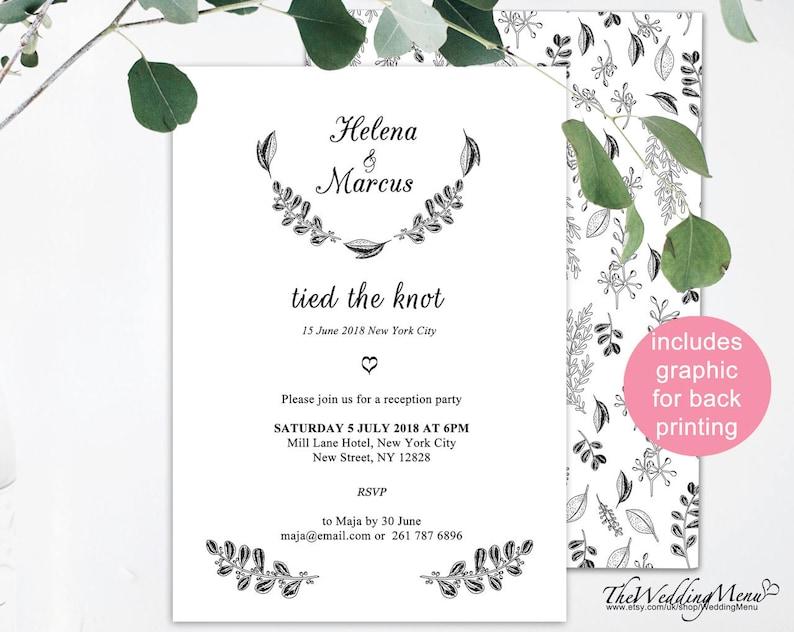 Elopement Announcement Botanical Background We Eloped Printable Ideas Got Married Reception Invitation 006