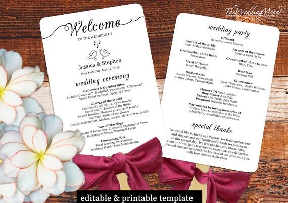 wedding fan template wedding program pdf wedding program fan etsy