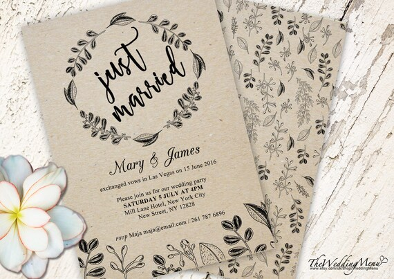 elopement invitation cards save the date elopement reception etsy