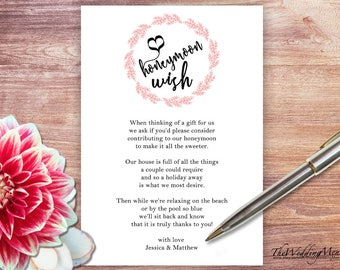Honeymoon Fund Honeymoon Wish Honeymoon Fundraiser Honeymoon Ideas Printable Asking for Money Template Honeymoon Poem PDF Honeymoon DIY 008