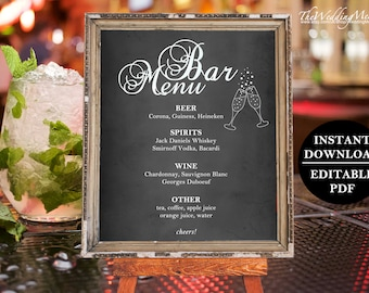 Rustic Bar Menu, Printable Chalkboard Bar Menu, Sign Bar Menu, Sign Menu Bar, Menu for Wedding Drink, Menu Rustic Drink, Menu Blackboard PDF