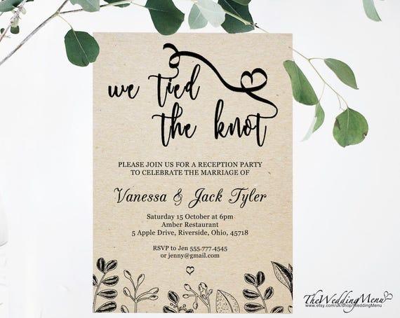 Elopement Wedding Invitations: Items Similar To Elopement Announcement Invitation, Tied