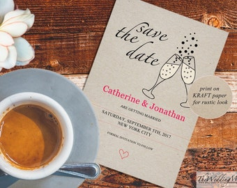 Save the Date Card Template Rustic Calligraphy Printable Wedding Date Card Kraft Invite Editable PDF Template Instant Download SDDGlasses01