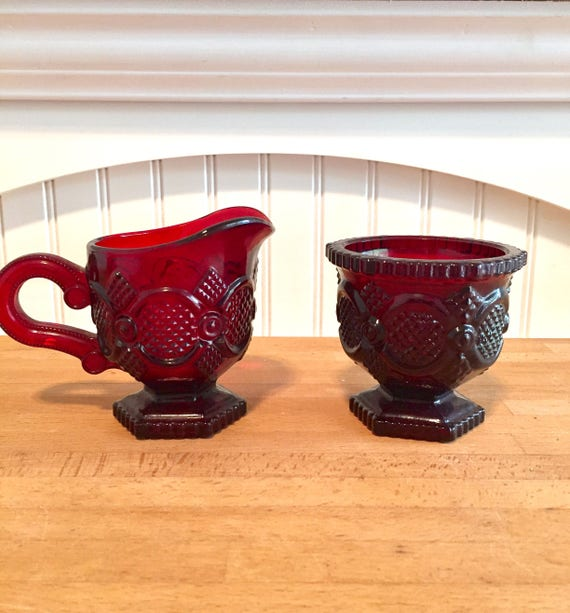 Avon Cape Cod Red Pressed Glass Sugar Bowl And Creamer Set Etsy