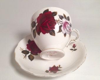Red rose tea cup and saucer set vintage