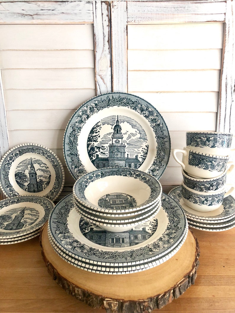 Blue transferware plates Colonial Heritage Cavalier Ironstone dinner  plates, small plate cup and saucer set vintage