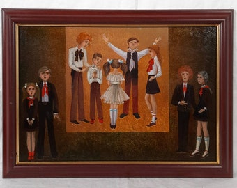 One of a kind Mother and daughters Original oil painting Ukrainian artist Family European Fine Art