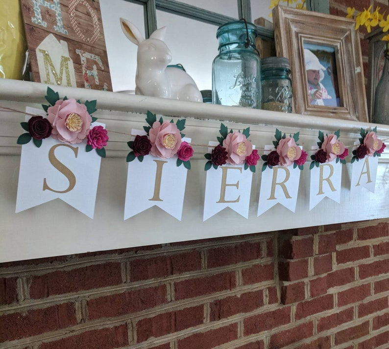 Personalized floral banner with burgundy flowers Nursery name image 1