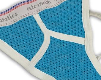 Retro jock strap in blue mesh