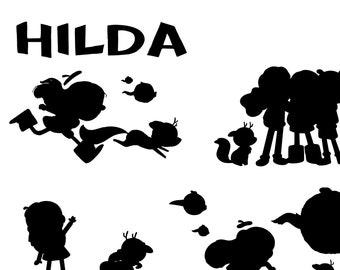 Hilda silhouettes SVG vector illustration character cricut cutter vinyl adobe illustrator clip art artwork graphic design cartoon Netflix
