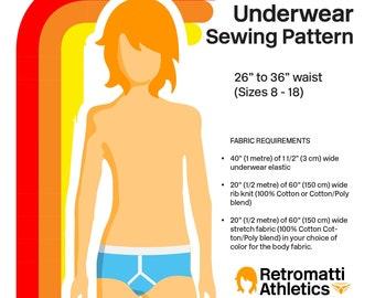 Retro PDF Sewing Pattern Y-Front Briefs Mens Boys Briefs Underwear Digital Jockey Underpants Brief Men download diy sizes 26 to 36 inches