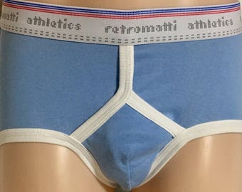 Retro low rise short briefs in baby blue