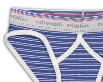 Blue brown stripes retro sport briefs