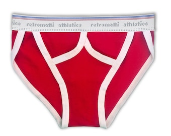 Retro tanga briefs in red