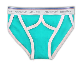 Retro tanga briefs in Aqua Blue