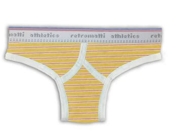 Retro thong in red & yellow stripes