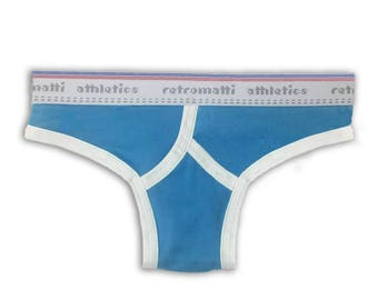 Retro thong in vintage blue