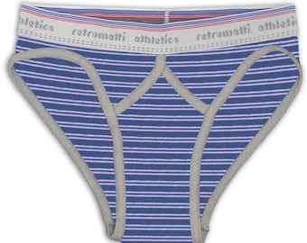 Blue brown stripes retro sport briefs with gray piping jockey low rise y fronts gay underwear handmade 80s 70s geek lgbt gay pride stripes