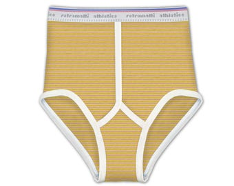 Retro super high waisted briefs in Red & Yellow Stripes