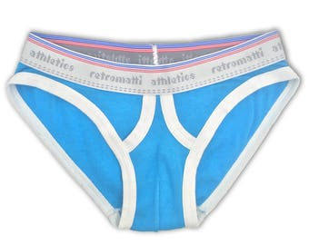 Retro ultra low rise briefs in cerulean blue