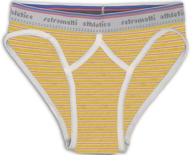 Retro Briefs in Yellow & Red Stripes