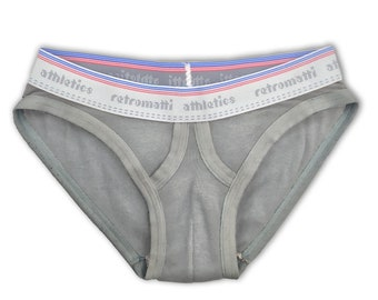 Retro ultra low rise briefs in matte gray