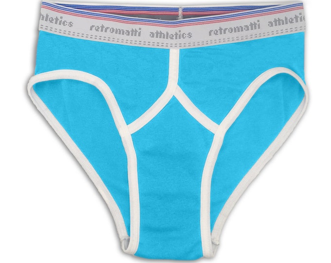 Retro mid rise sport briefs in cyan