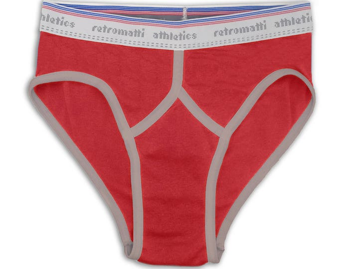 Retro mid rise sport briefs in red and grey