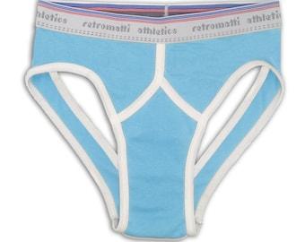 Retro jock briefs in powder blue