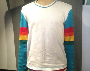 z Rainbow Techno Future Shirt - Long Sleeves, stripes, 70s, 80s, modern vintage funky retro fun gay shirt bright colours cotton rainbow lgbt