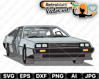 Delorean Illustration SVG DMC-12 Delorean wall art retro graphic vector for cricut clipart stickers 1979 clip art bedroom decor