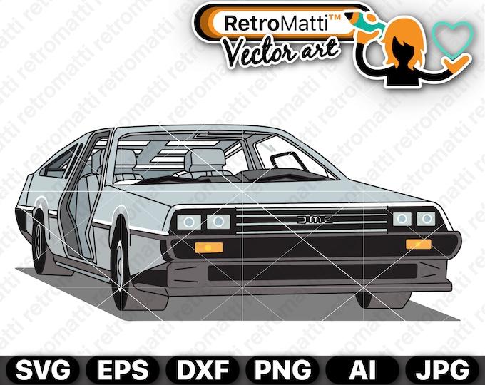 Delorean Illustration SVG DMC-12 Delorean wall art retro graphic vector for cricut clipart stickers 1979 clip art bedroom decor