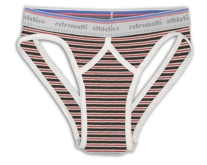 Retro sport jock briefs low rise in red & brown stripes