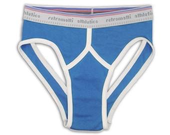 Retro jock briefs in vintage blue