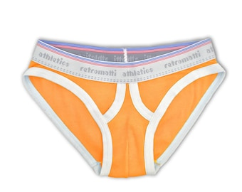 Retro ultra low rise briefs in orange, new rainbow jockey briefs, 1980s 1970s mens briefs, retro-futuristic y-fronts geek underwear