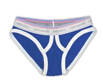 Ultra low rise retro briefs in royal blue new rainbow briefs 70s 80s mens briefs unique underwear fun mens underwear geek underwear vintage