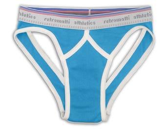 Retro sport jock briefs low rise in cerulean blue