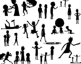 Rick and Morty Silhouettes Rick Sanchez SVG digital art download vector drawing cartoon character illustration artwork