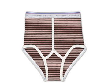 Retro super high waisted briefs in Red & Brown Stripes