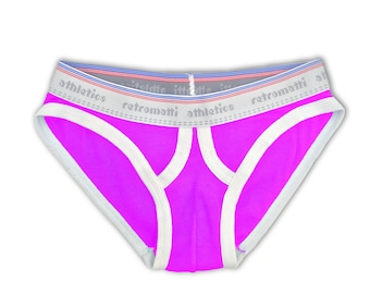 Retro ultra low rise briefs in magenta
