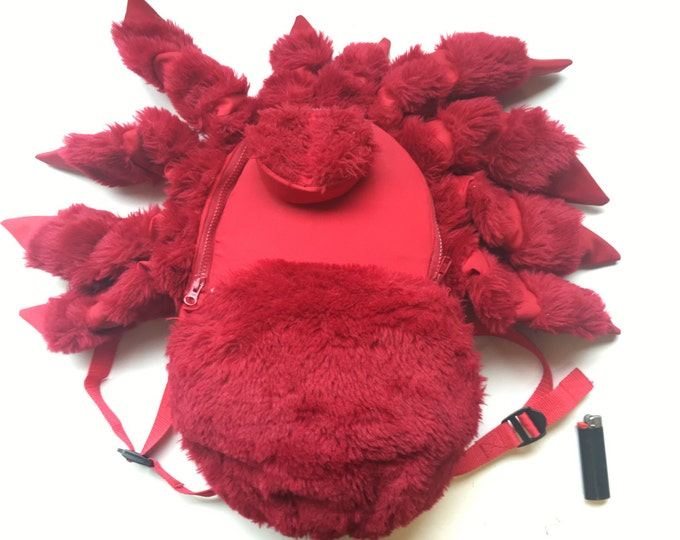 Red Tarantula Backpack, Small Red Tarantula Spider, rugged knapsack, insect bag, water resistant, furry friend, padded straps, back pack