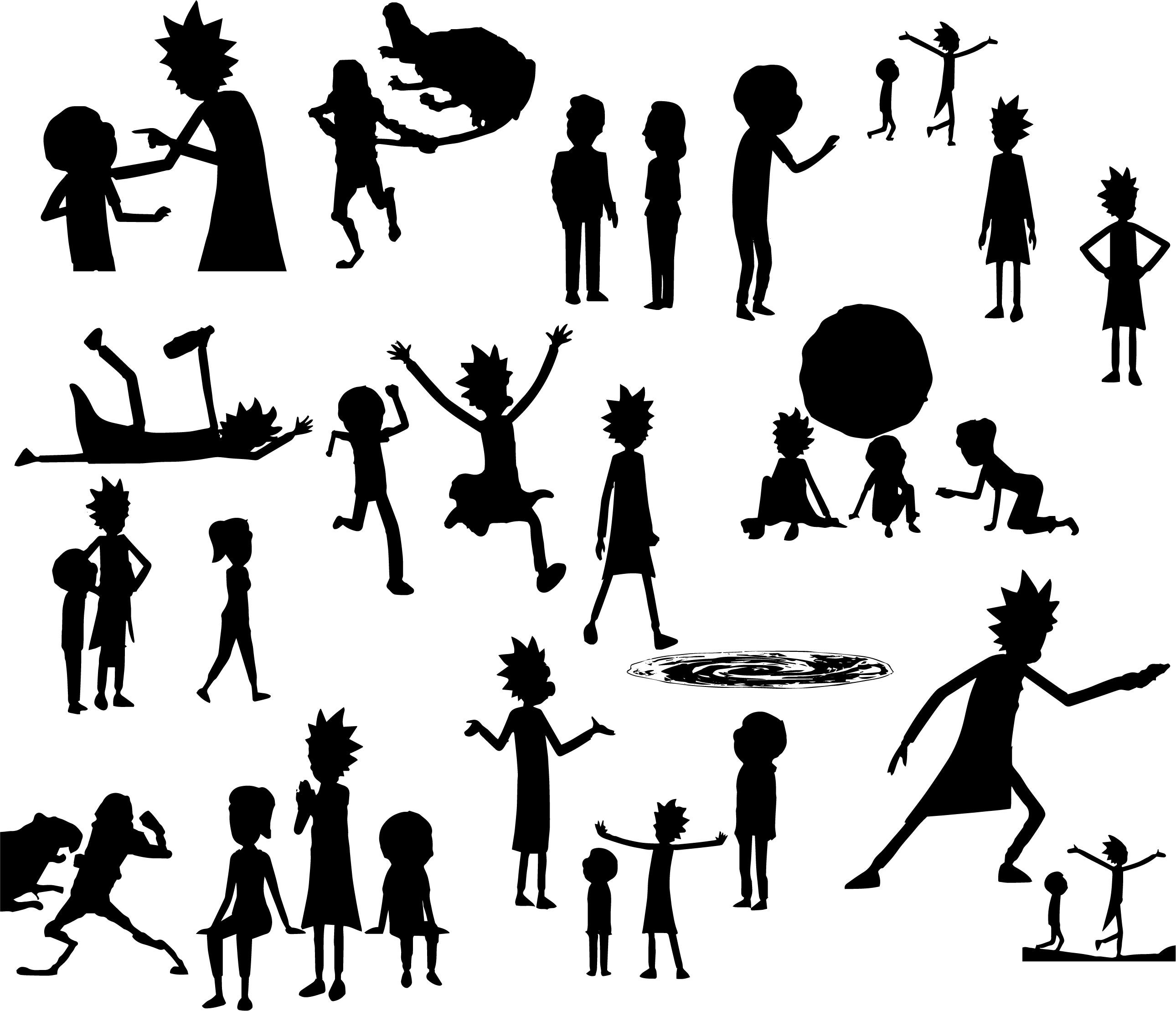rick and morty silhouettes rick sanchez svg digital art download