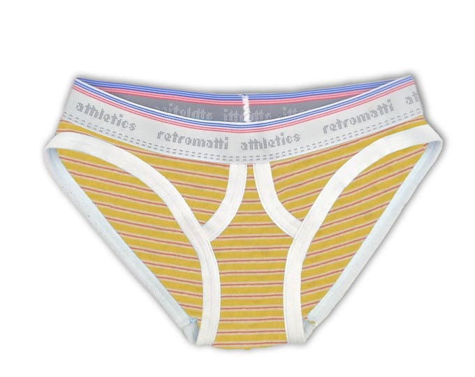 Retro ultra low rise briefs in red & yellow stripes