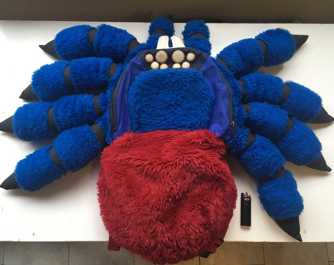 Deluxe Tarantula Backpack, Medium Orange Bottle Blue Tarantula Spider, 3d printed eyes, padded shoulder straps, furry, water resistant