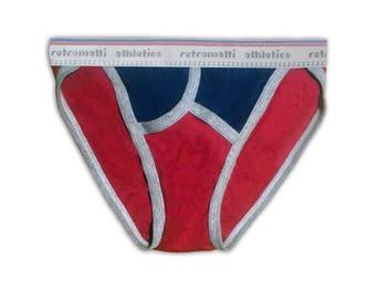 Retro tanga briefs in red, navy & gray