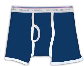 Retro Boxers in Navy Blue