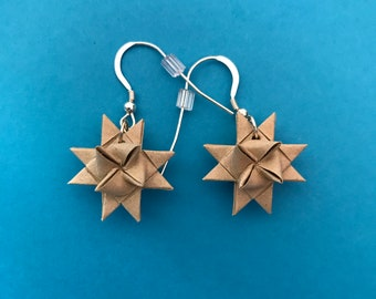 Moravian Star Earrings—Khaki